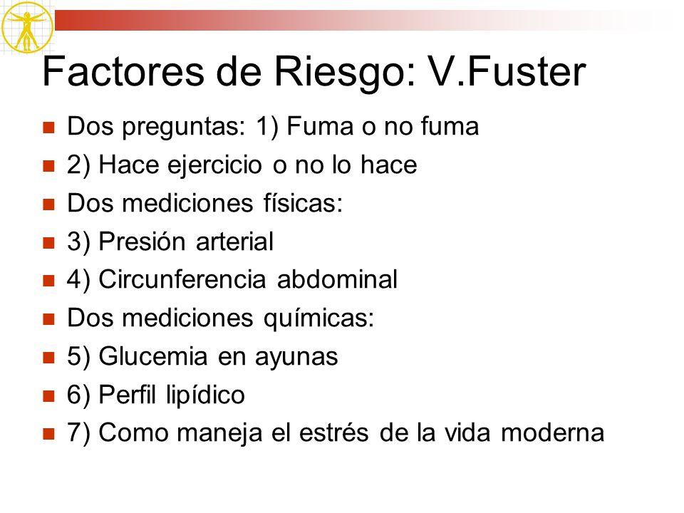 Factores de Riesgo: V.Fuster Dos preguntas: 1) Fuma o no fuma 2) Hace ejercicio o no lo hace Dos mediciones físicas: 3) Presión arterial 4) Circunfere