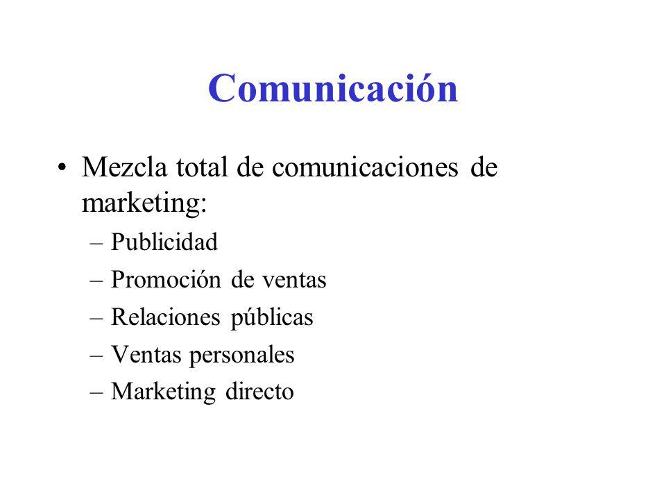 Comunicación Mezcla total de comunicaciones de marketing: –Publicidad –Promoción de ventas –Relaciones públicas –Ventas personales –Marketing directo