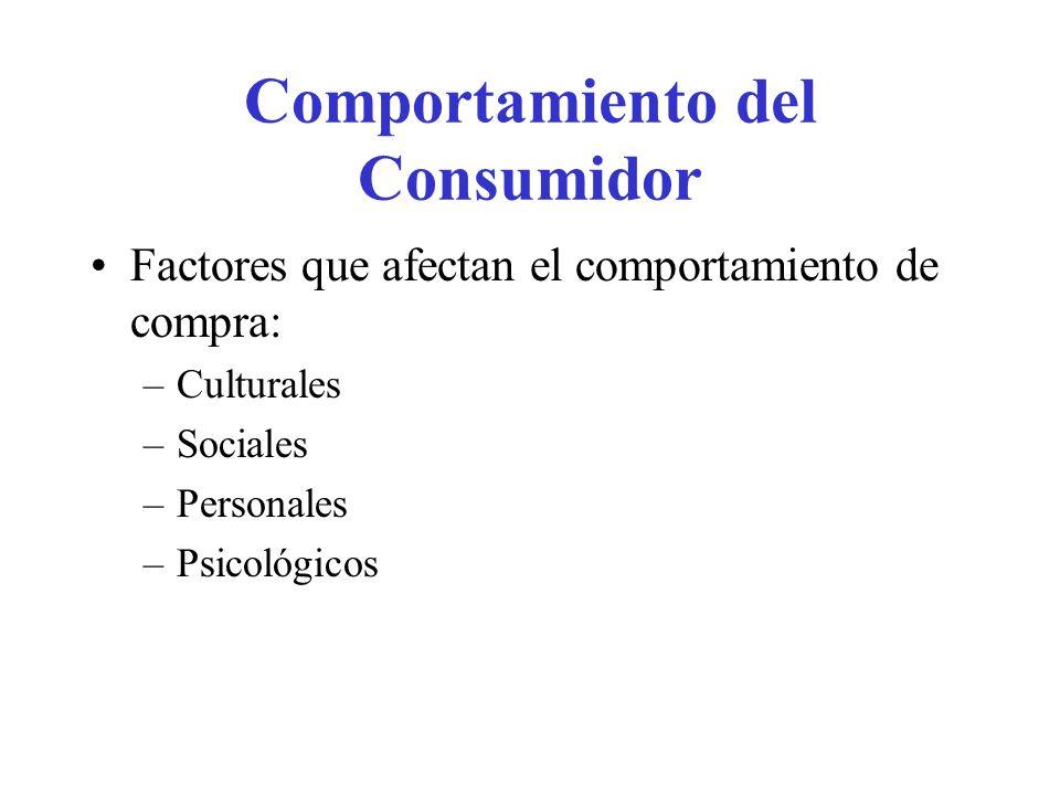 Comportamiento del Consumidor Factores que afectan el comportamiento de compra: –Culturales –Sociales –Personales –Psicológicos