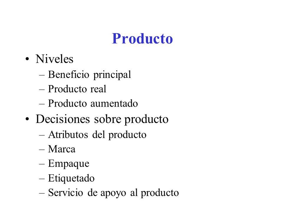Producto Niveles –Beneficio principal –Producto real –Producto aumentado Decisiones sobre producto –Atributos del producto –Marca –Empaque –Etiquetado –Servicio de apoyo al producto