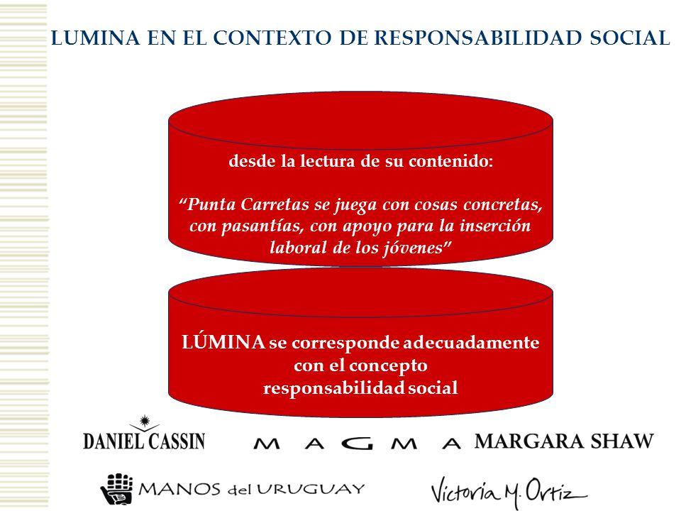 LUMINA EN EL CONTEXTO DE RESPONSABILIDAD SOCIAL desde la lectura de su contenido: Punta Carretas se juega con cosas concretas, con pasantías, con apoy