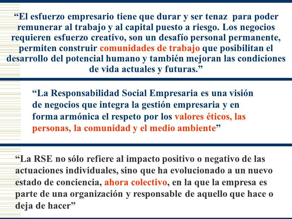La Responsabilidad Social Empresaria es una visión de negocios que integra la gestión empresaria y en forma armónica el respeto por los valores éticos