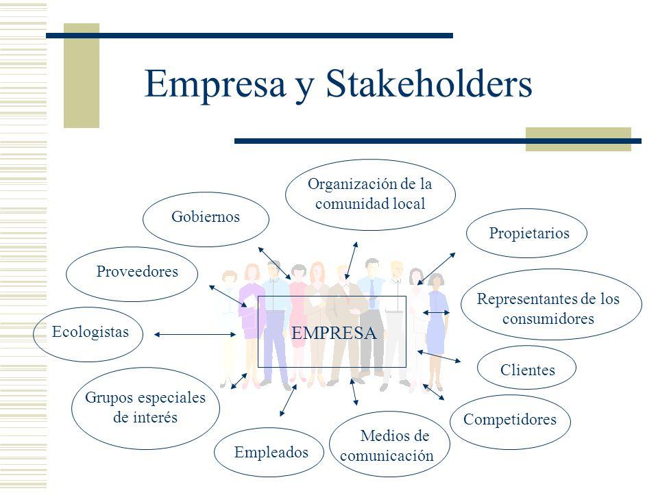 Empresa y Stakeholders Gobiernos Empleados Proveedores Ecologistas Grupos especiales de interés Organización de la comunidad local Propietarios Repres