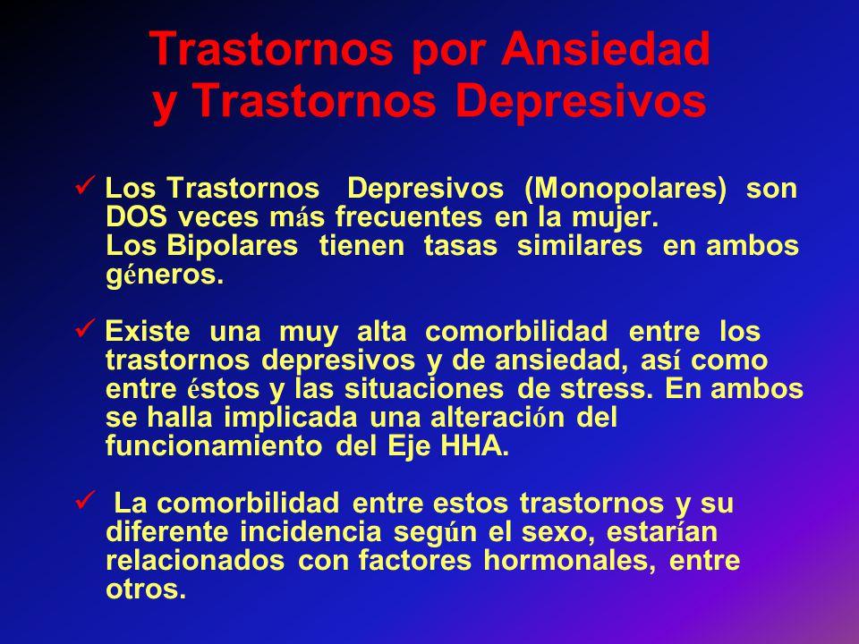 Trastornos por Ansiedad y Trastornos Depresivos Los Trastornos Depresivos (Monopolares) son DOS veces m á s frecuentes en la mujer. Los Bipolares tien