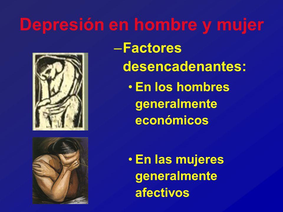 Depresión en hombre y mujer –Factores desencadenantes: En los hombres generalmente económicos En las mujeres generalmente afectivos