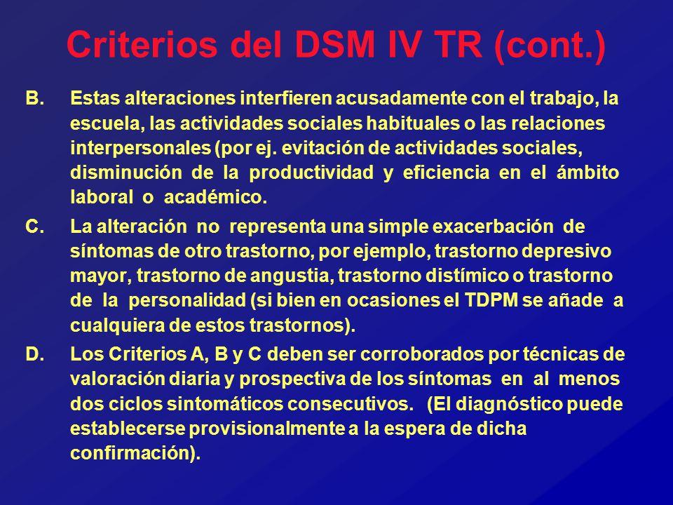 Criterios del DSM IV TR (cont.) B.Estas alteraciones interfieren acusadamente con el trabajo, la escuela, las actividades sociales habituales o las re