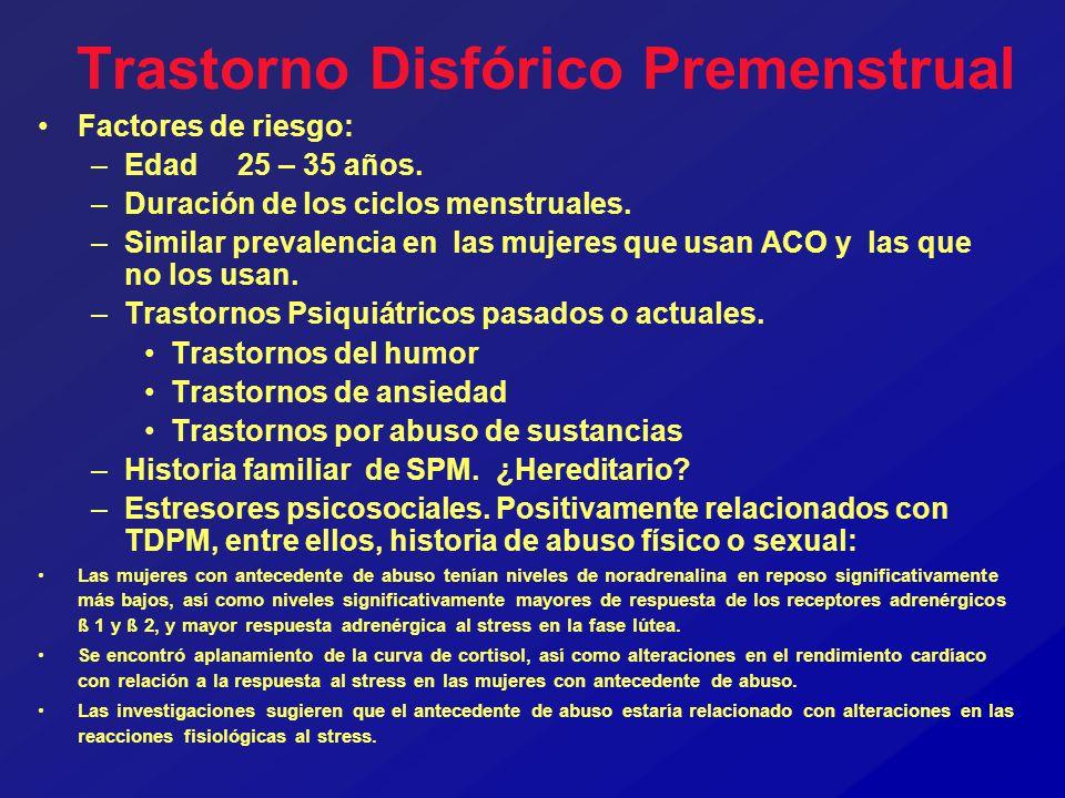Trastorno Disfórico Premenstrual Factores de riesgo: –Edad 25 – 35 años. –Duración de los ciclos menstruales. –Similar prevalencia en las mujeres que