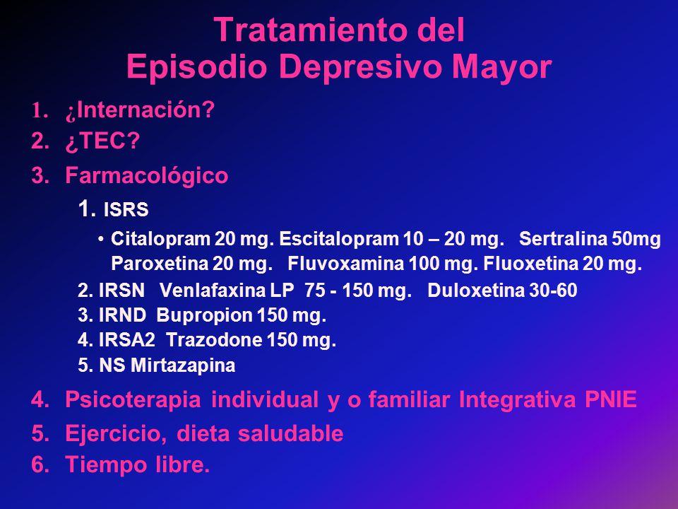 Tratamiento del Episodio Depresivo Mayor 1.¿ Internación? 2.¿TEC? 3.Farmacológico 1. ISRS Citalopram 20 mg. Escitalopram 10 – 20 mg. Sertralina 50mg P