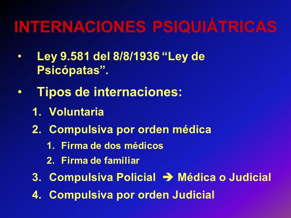 INTERNACIONES PSIQUIÁTRICAS Ley 9.581 del 8/8/1936 Ley de Psicópatas. Tipos de internaciones: 1.Voluntaria 2.Compulsiva por orden médica 1.Firma de do