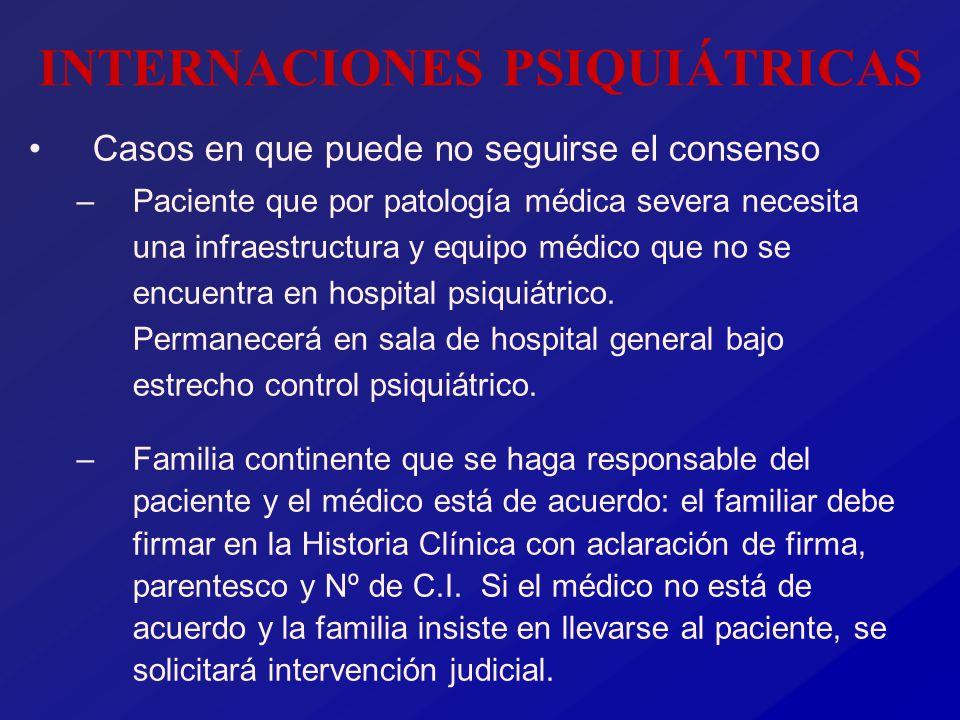 INTERNACIONES PSIQUIÁTRICAS Casos en que puede no seguirse el consenso –Paciente que por patología médica severa necesita una infraestructura y equipo