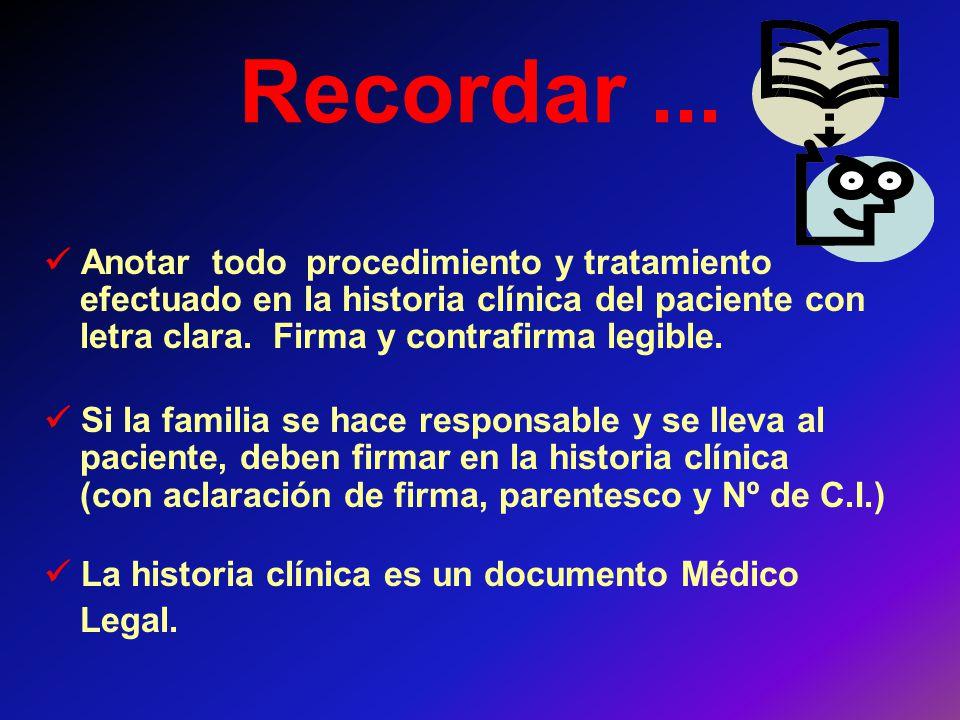 Recordar... Anotar todo procedimiento y tratamiento efectuado en la historia clínica del paciente con letra clara. Firma y contrafirma legible. Si la