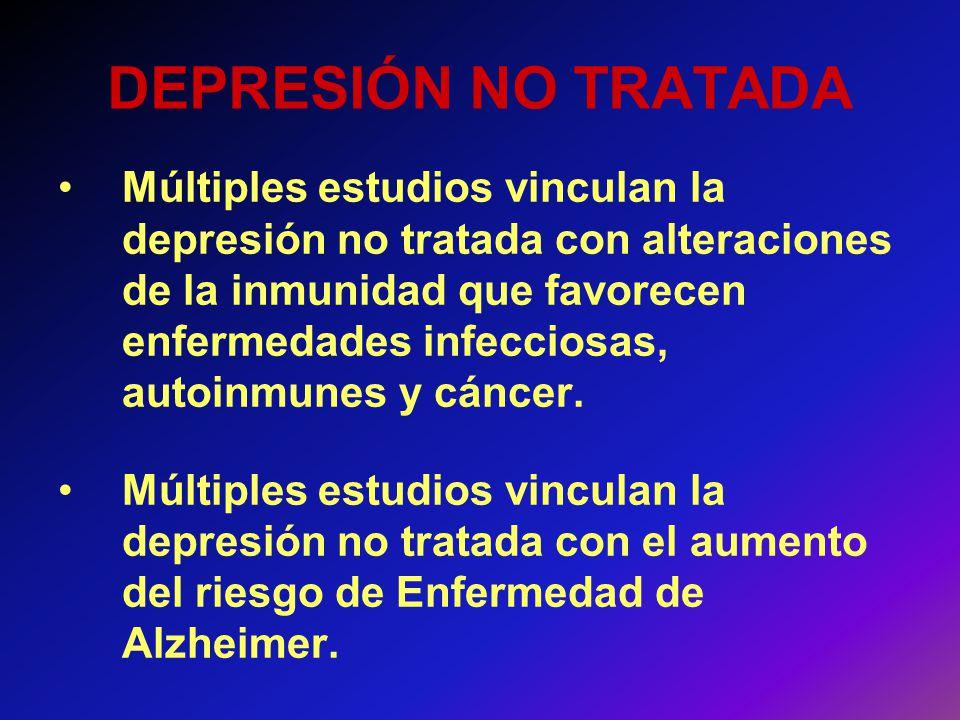 DEPRESIÓN NO TRATADA Múltiples estudios vinculan la depresión no tratada con alteraciones de la inmunidad que favorecen enfermedades infecciosas, auto