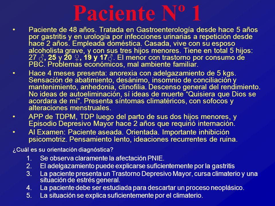 Paciente Nº 1 Paciente de 48 años. Tratada en Gastroenterología desde hace 5 años por gastritis y en urología por infecciones urinarias a repetición d