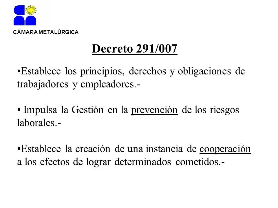 Decreto 291/007 Establece los principios, derechos y obligaciones de trabajadores y empleadores.- Impulsa la Gestión en la prevención de los riesgos l
