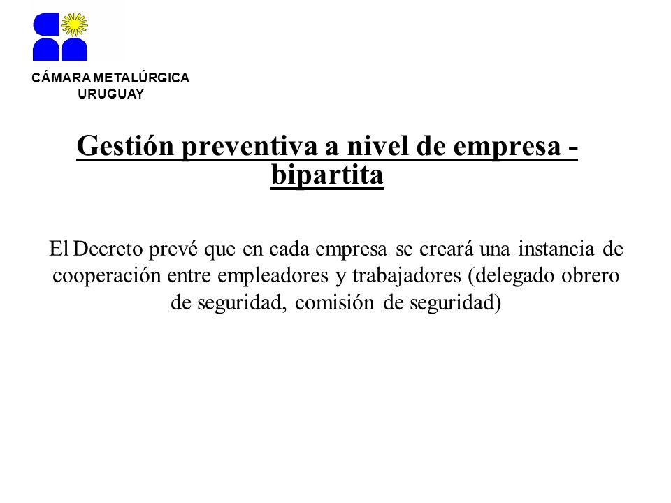 Gestión preventiva a nivel de empresa - bipartita CÁMARA METALÚRGICA URUGUAY El Decreto prevé que en cada empresa se creará una instancia de cooperaci
