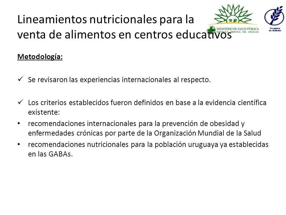 Lineamientos nutricionales para la venta de alimentos en centros educativos Metodología: Se revisaron las experiencias internacionales al respecto.