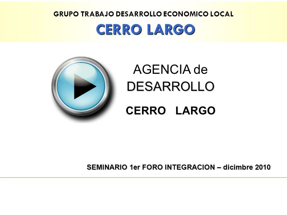 GRUPO TRABAJO DESARROLLO ECONOMICO LOCAL CERRO LARGO DESARROLLO AGENCIA de DESARROLLO CERRO LARGO SEMINARIO 1er FORO INTEGRACION – dicimbre 2010