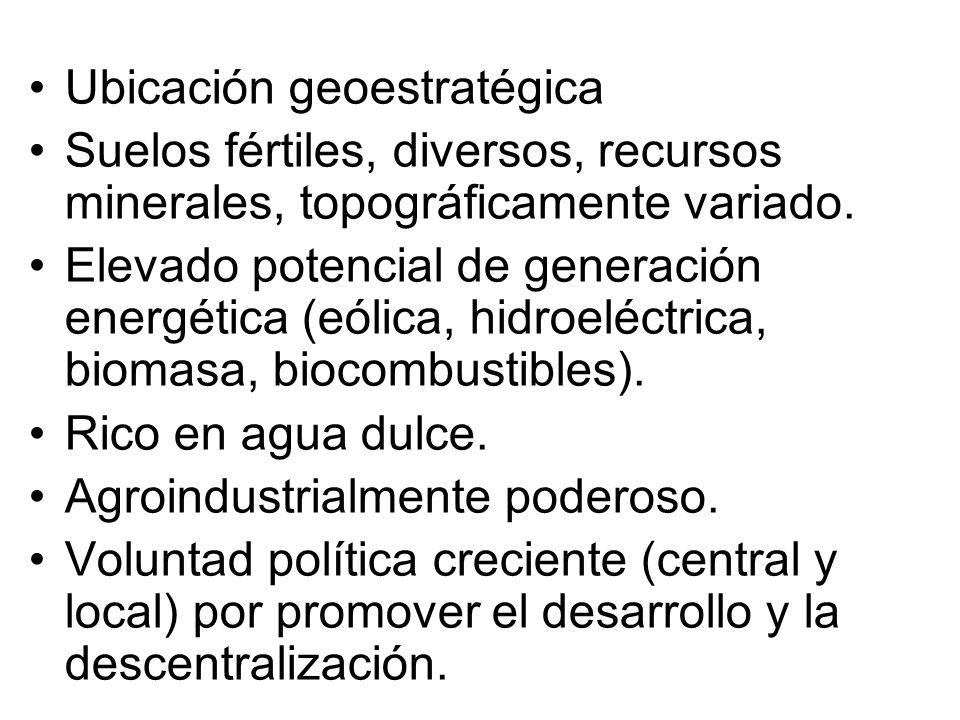 Ubicación geoestratégica Suelos fértiles, diversos, recursos minerales, topográficamente variado. Elevado potencial de generación energética (eólica,