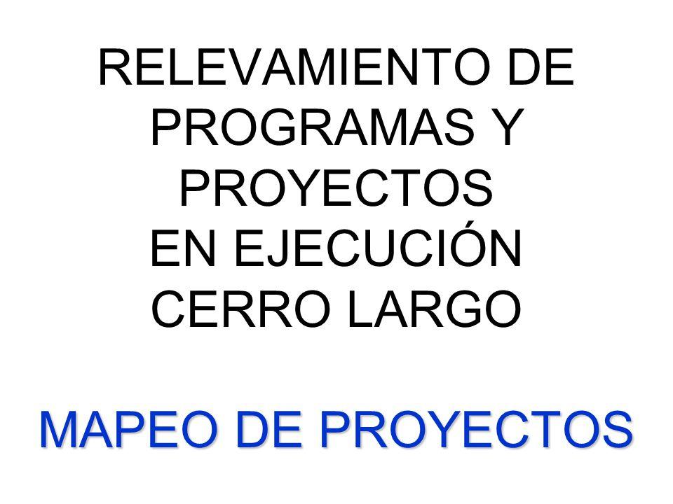 MAPEO DE PROYECTOS RELEVAMIENTO DE PROGRAMAS Y PROYECTOS EN EJECUCIÓN CERRO LARGO MAPEO DE PROYECTOS