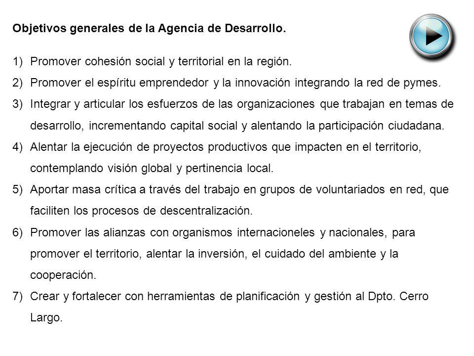 Objetivos generales de la Agencia de Desarrollo. 1)Promover cohesión social y territorial en la región. 2)Promover el espíritu emprendedor y la innova