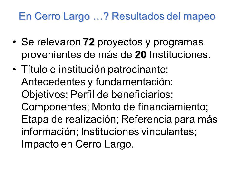 En Cerro Largo …? Resultados del mapeo 72 20Se relevaron 72 proyectos y programas provenientes de más de 20 Instituciones. Título e institución patroc