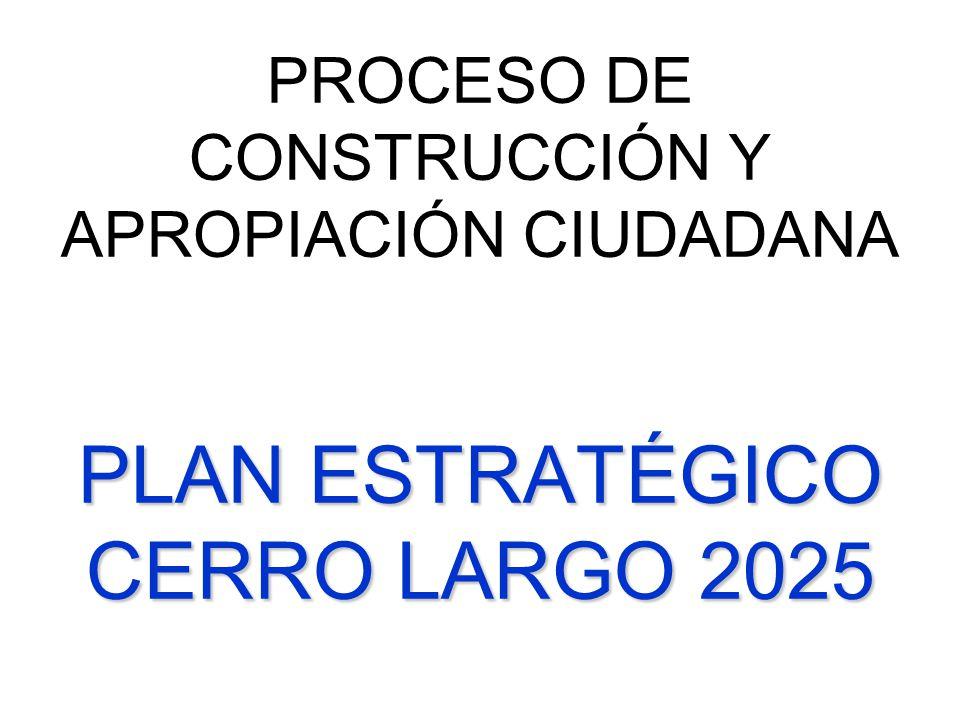 PLAN ESTRATÉGICO CERRO LARGO 2025 PROCESO DE CONSTRUCCIÓN Y APROPIACIÓN CIUDADANA PLAN ESTRATÉGICO CERRO LARGO 2025