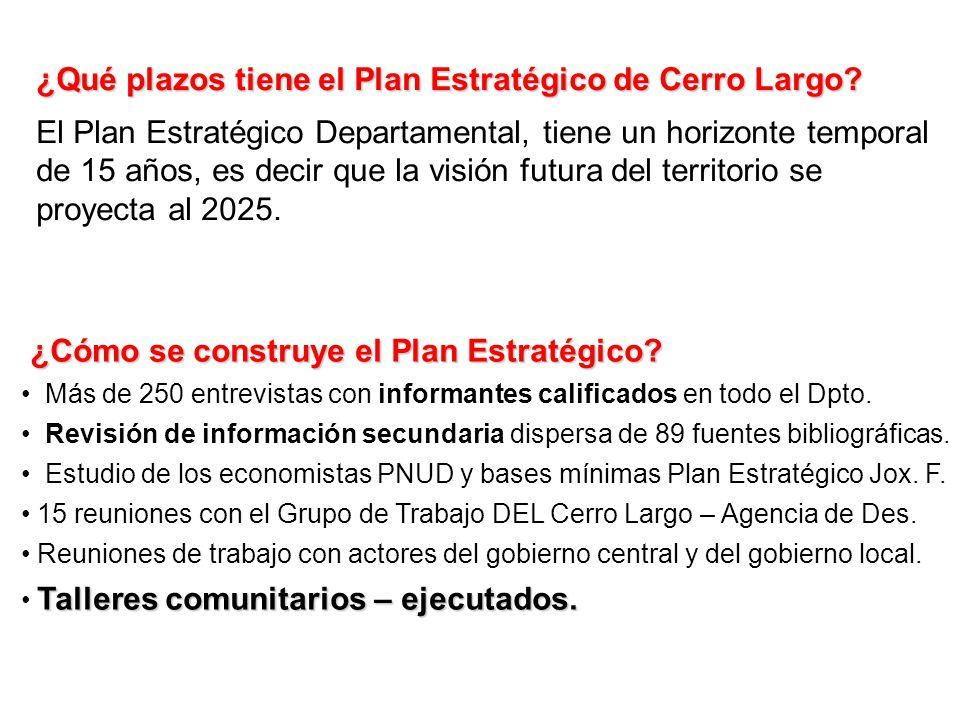 ¿Qué plazos tiene el Plan Estratégico de Cerro Largo? El Plan Estratégico Departamental, tiene un horizonte temporal de 15 años, es decir que la visió