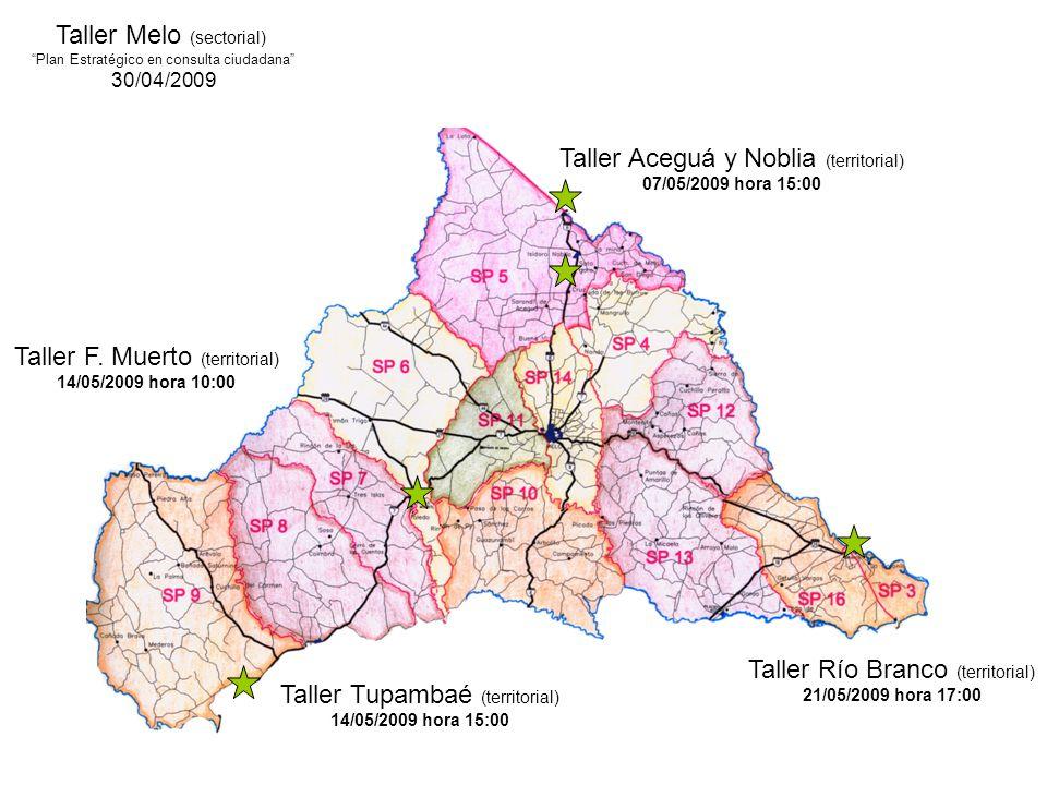 Taller Melo (sectorial) Plan Estratégico en consulta ciudadana 30/04/2009 Taller Aceguá y Noblia (territorial) 07/05/2009 hora 15:00 Taller Río Branco