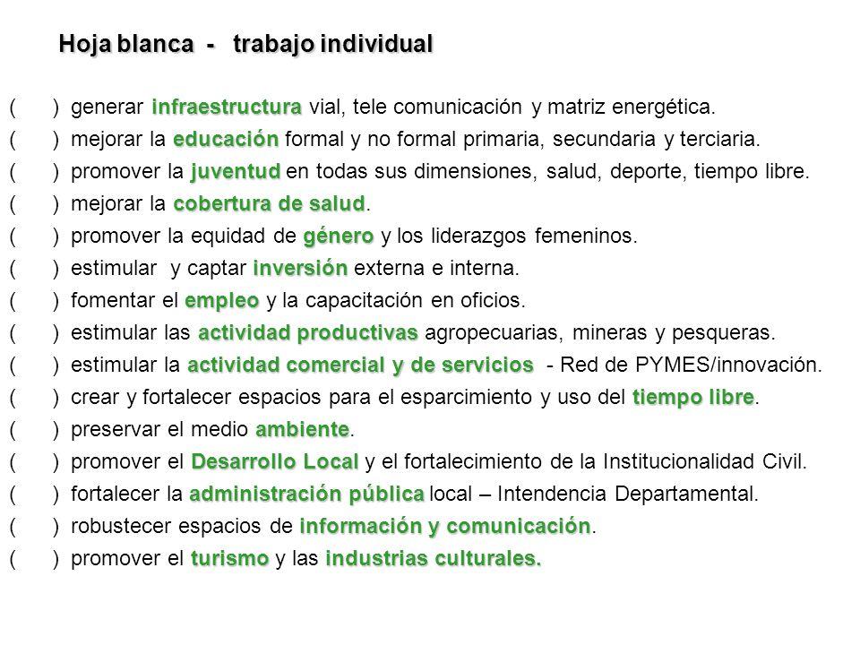 infraestructura ( ) generar infraestructura vial, tele comunicación y matriz energética. educación ( ) mejorar la educación formal y no formal primari