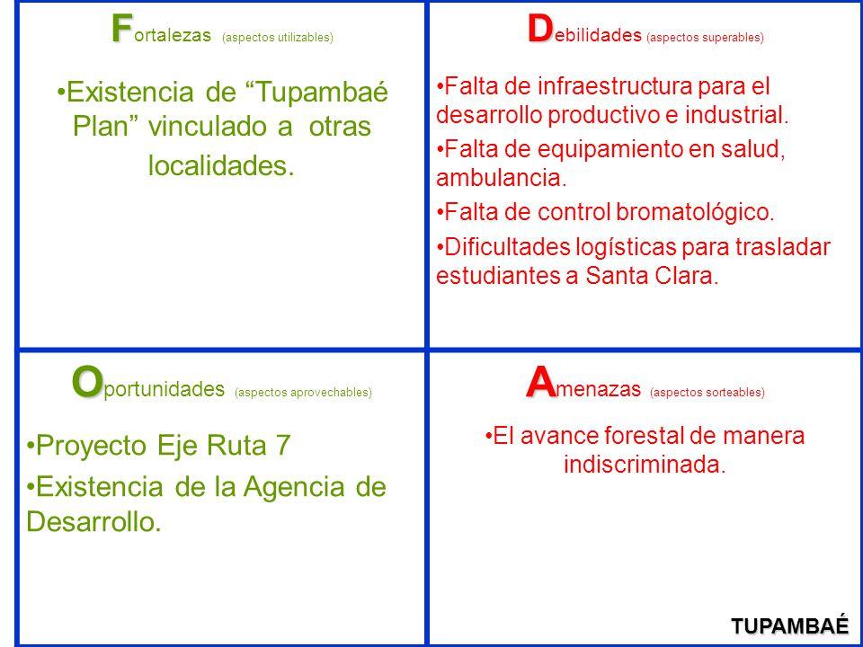 F F ortalezas (aspectos utilizables) Existencia de Tupambaé Plan vinculado a otras localidades. D D ebilidades (aspectos superables) Falta de infraest