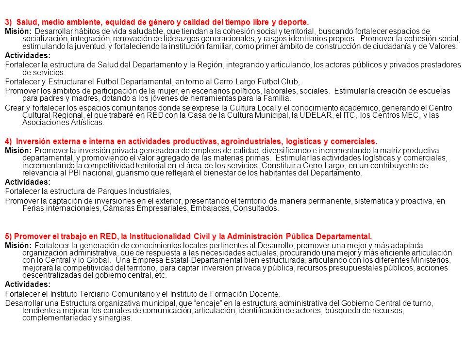 AREAS DE PROYECTOS PRIORIZADOS SEGÚN LINEAMIENTOS DEFINIDOS EN EL PLAN y ODM