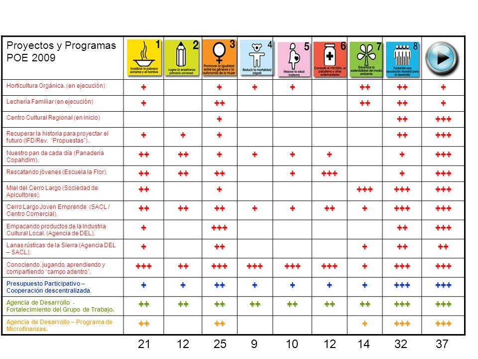 Proyectos y Programas POE 2009 Horticultura Orgánica. (en ejecución)+++++++++ Lechería Familiar (en ejecución)++++++++ Centro Cultural Regional (en in