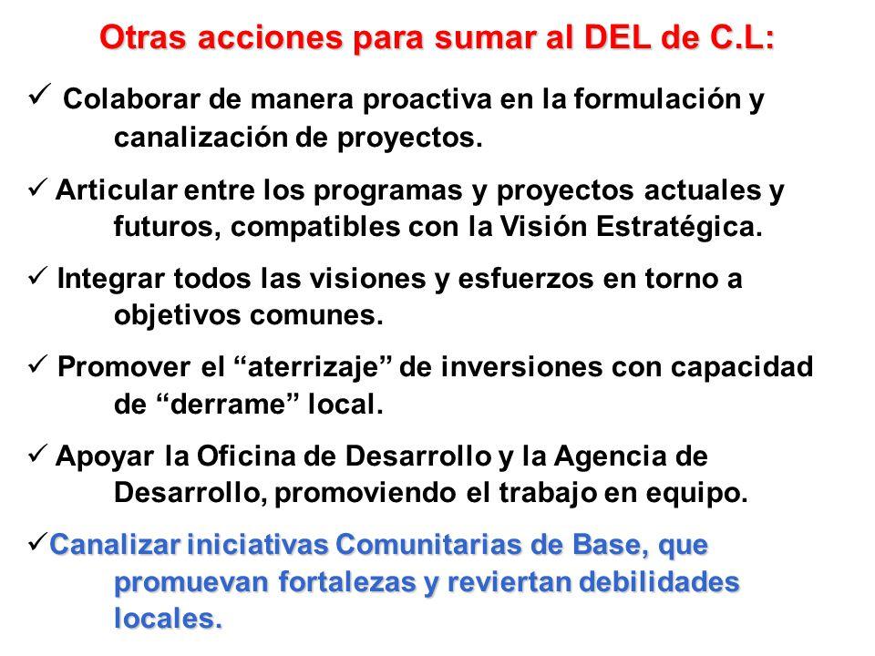 Otras acciones para sumar al DEL de C.L: Colaborar de manera proactiva en la formulación y canalización de proyectos. Articular entre los programas y