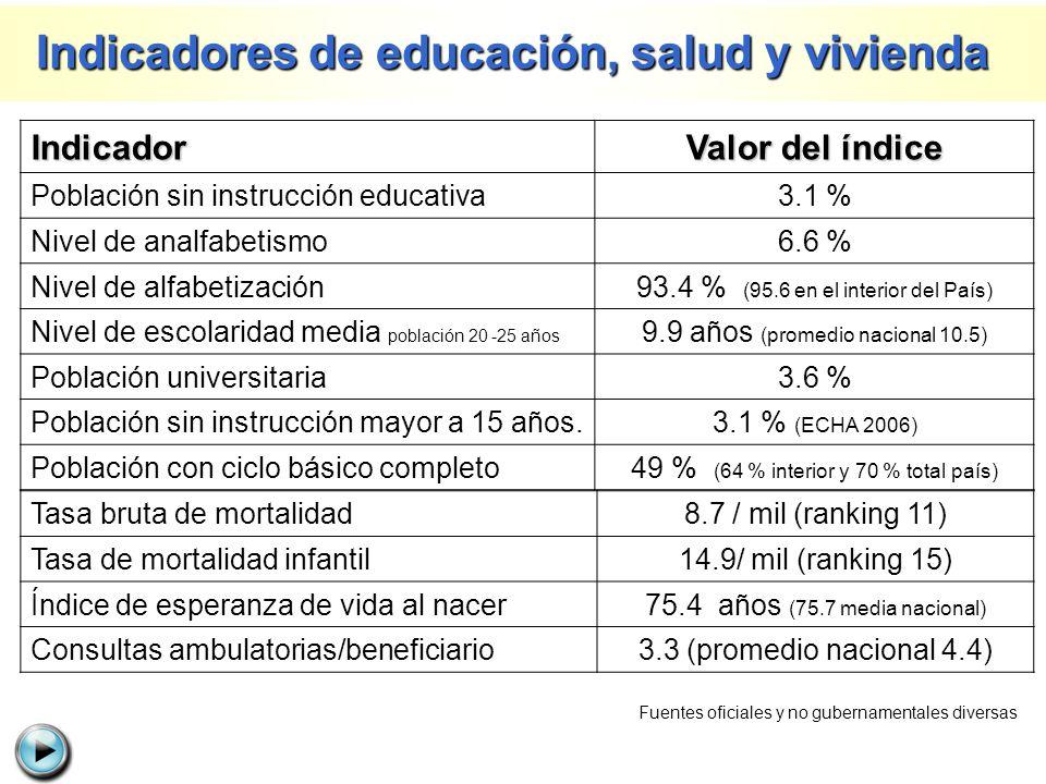Indicador Valor del índice Población sin instrucción educativa3.1 % Nivel de analfabetismo6.6 % Nivel de alfabetización93.4 % (95.6 en el interior del