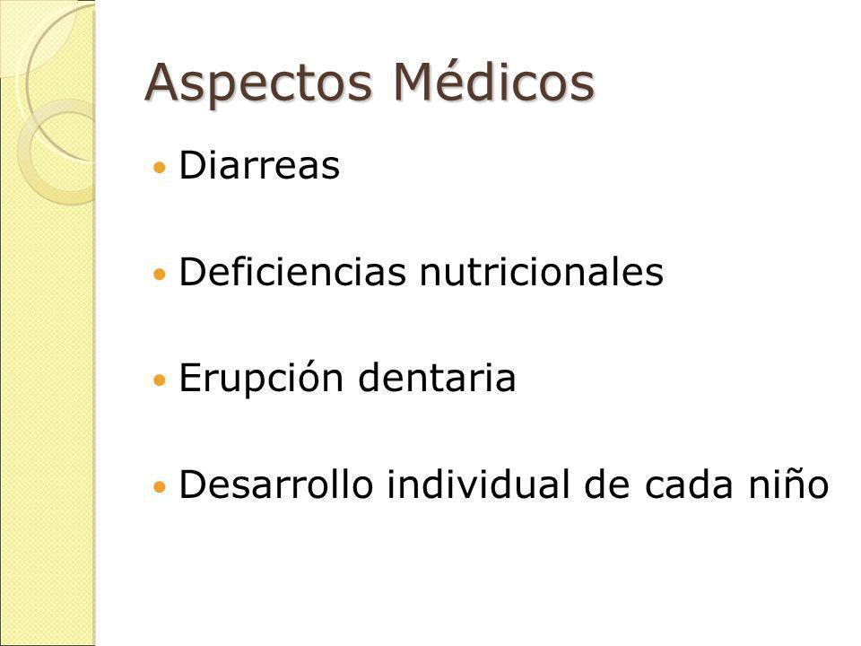 Aspectos Médicos Diarreas Deficiencias nutricionales Erupción dentaria Desarrollo individual de cada niño
