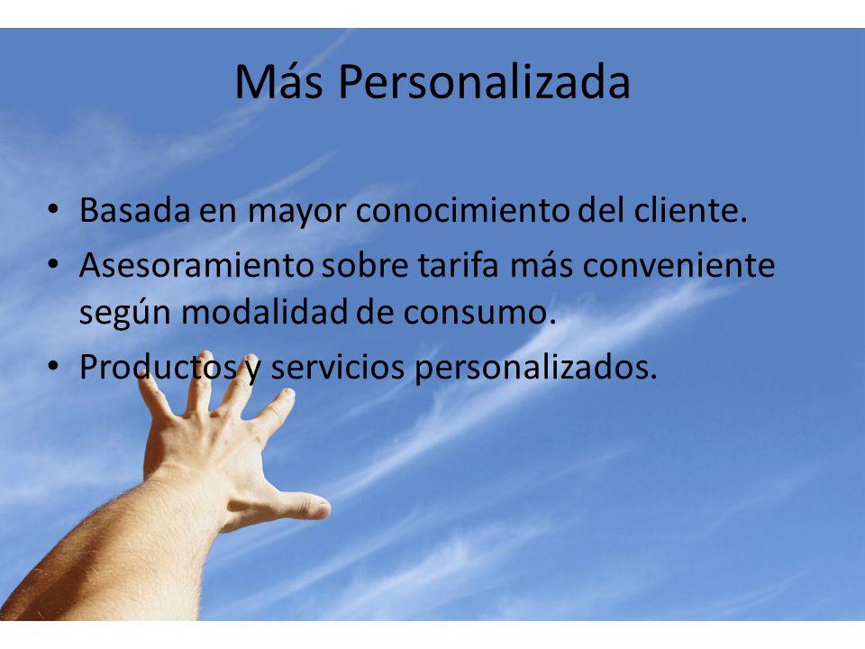Más Personalizada Basada en mayor conocimiento del cliente. Asesoramiento sobre tarifa más conveniente según modalidad de consumo. Productos y servici
