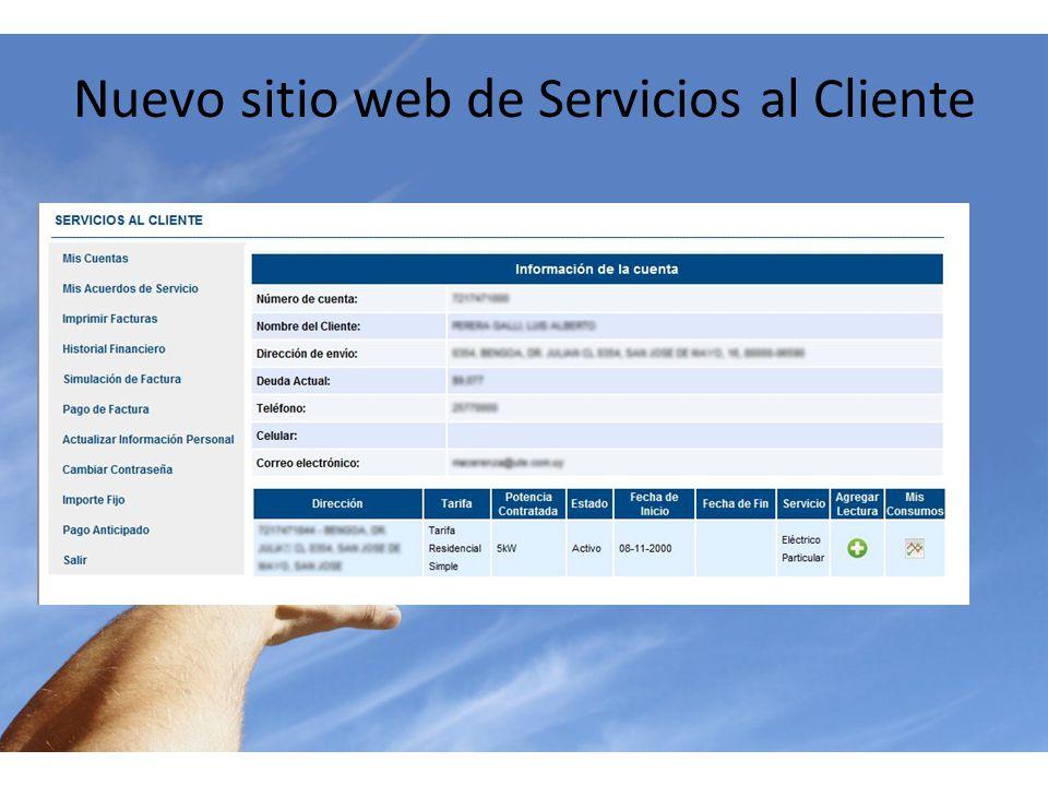 Nuevo sitio web de Servicios al Cliente