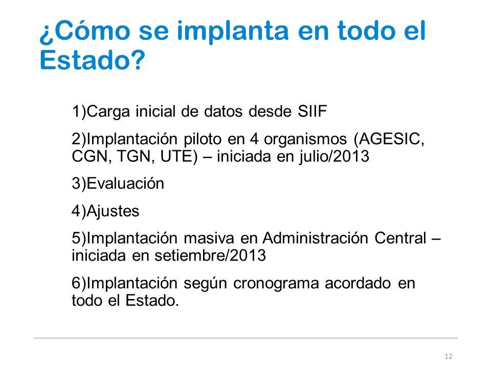 ¿Cómo se implanta en todo el Estado? 12 1)Carga inicial de datos desde SIIF 2)Implantación piloto en 4 organismos (AGESIC, CGN, TGN, UTE) – iniciada e