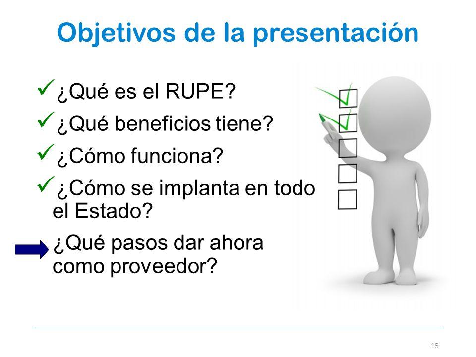 Objetivos de la presentación 15 ¿Qué es el RUPE? ¿Qué beneficios tiene? ¿Cómo funciona? ¿Cómo se implanta en todo el Estado? ¿Qué pasos dar ahora como