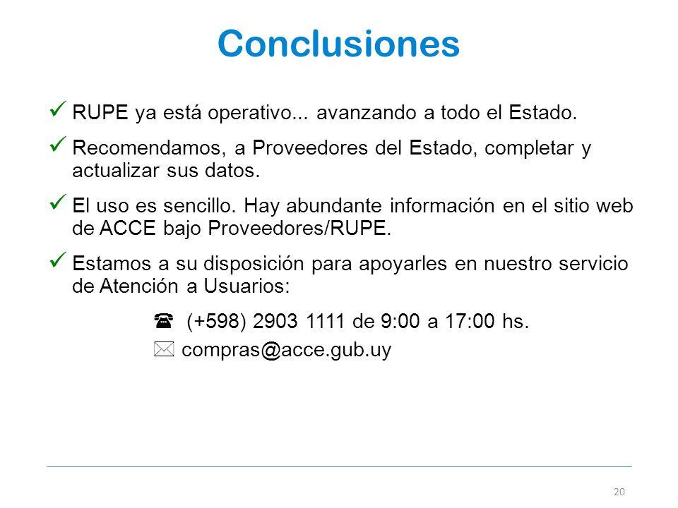 Conclusiones 20 RUPE ya está operativo... avanzando a todo el Estado. Recomendamos, a Proveedores del Estado, completar y actualizar sus datos. El uso