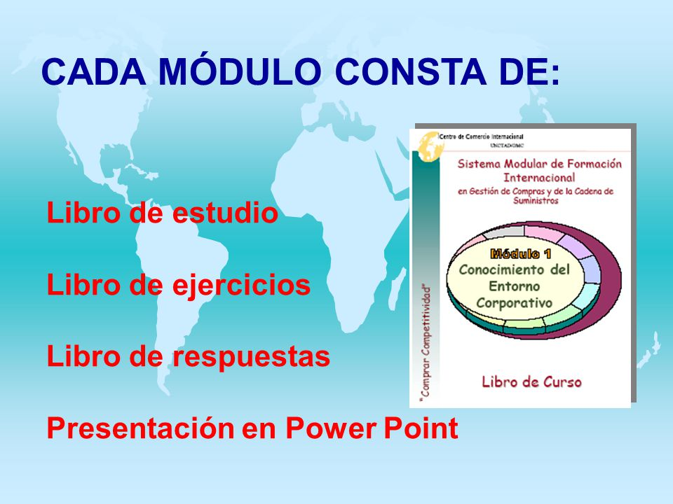 CADA MÓDULO CONSTA DE: Libro de estudio Libro de ejercicios Libro de respuestas Presentación en Power Point