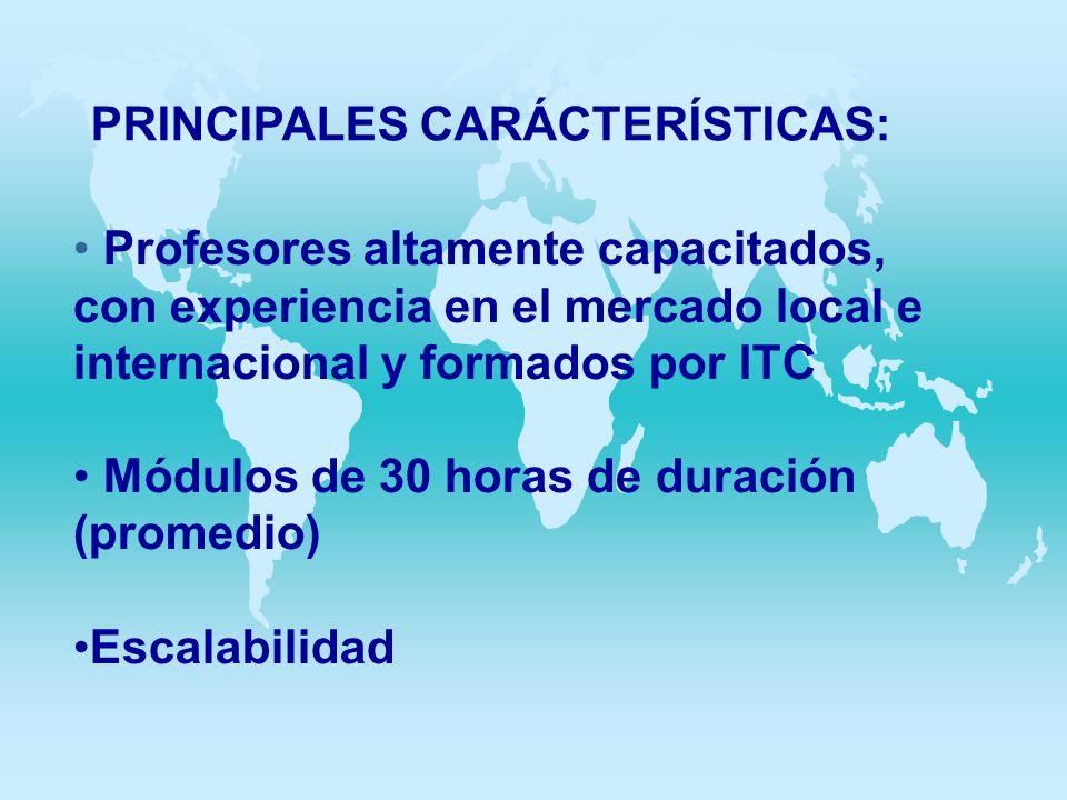 PRINCIPALES CARÁCTERÍSTICAS: Profesores altamente capacitados, con experiencia en el mercado local e internacional y formados por ITC Módulos de 30 ho