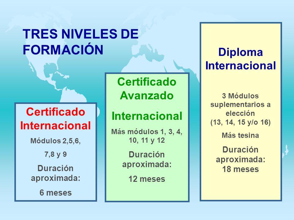 TRES NIVELES DE FORMACIÓN Certificado Internacional Módulos 2,5,6, 7,8 y 9 Duración aproximada: 6 meses Certificado Avanzado Internacional Más módulos