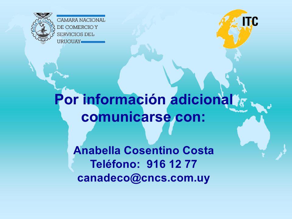 Por información adicional comunicarse con: Anabella Cosentino Costa Teléfono: 916 12 77 canadeco@cncs.com.uy
