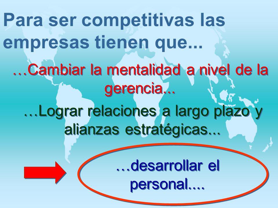 Para ser competitivas las empresas tienen que... …Cambiar la mentalidad a nivel de la gerencia... …desarrollar el personal.... …Lograr relaciones a la