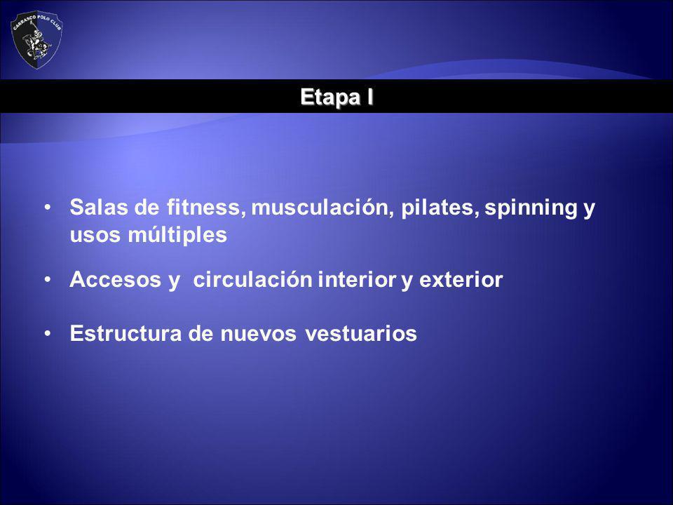 Etapa I Salas de fitness, musculación, pilates, spinning y usos múltiples Accesos y circulación interior y exterior Estructura de nuevos vestuarios
