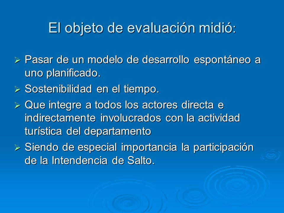El objeto de evaluación midió : Pasar de un modelo de desarrollo espontáneo a uno planificado. Pasar de un modelo de desarrollo espontáneo a uno plani