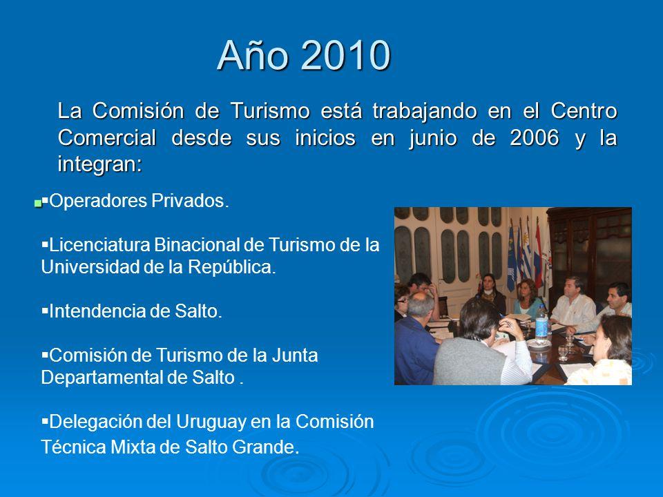 Año 2010 La Comisión de Turismo está trabajando en el Centro Comercial desde sus inicios en junio de 2006 y la integran: Operadores Privados. Licencia