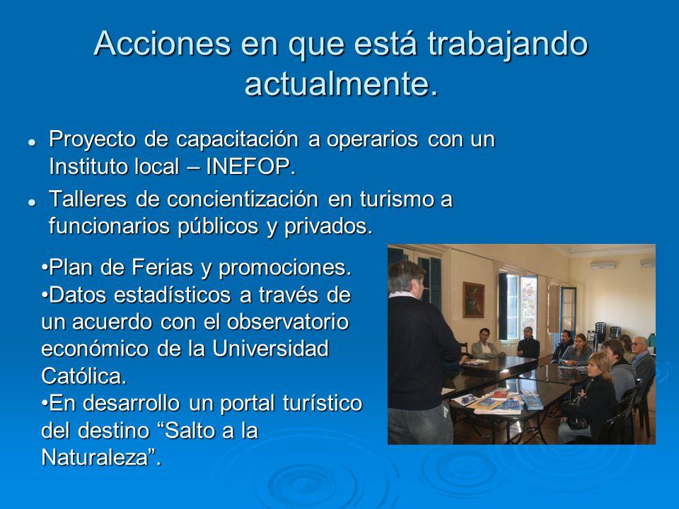 Acciones en que está trabajando actualmente. Proyecto de capacitación a operarios con un Instituto local – INEFOP. Proyecto de capacitación a operario