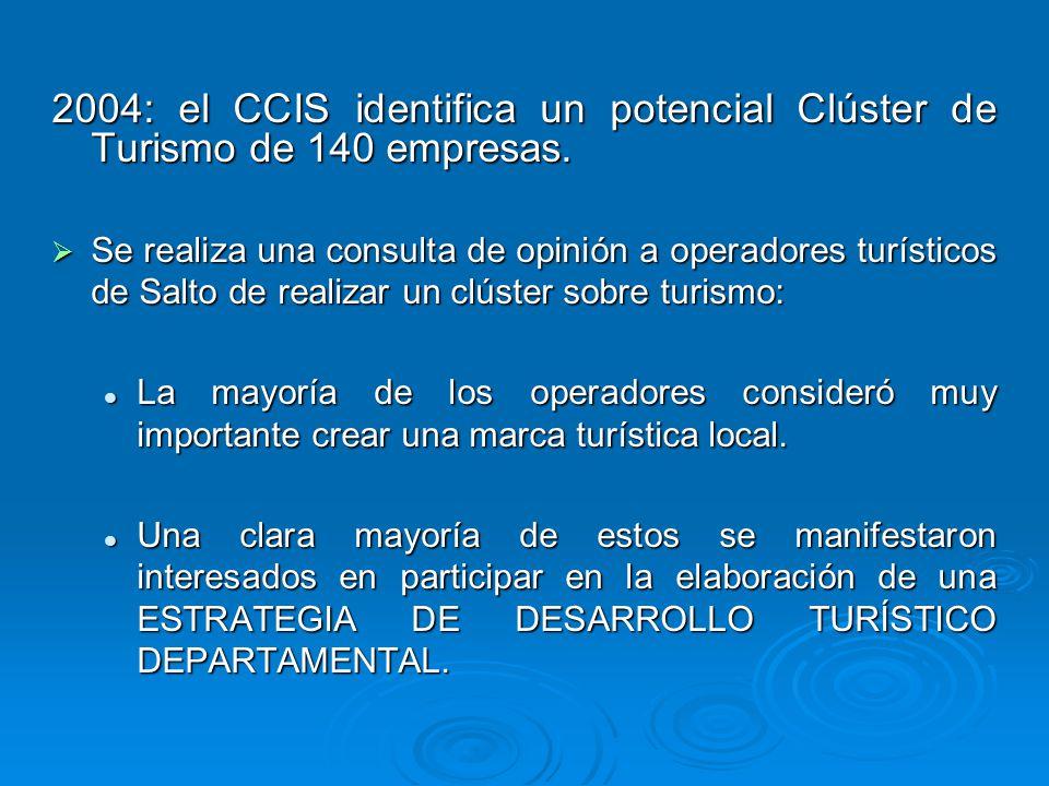 2004: el CCIS identifica un potencial Clúster de Turismo de 140 empresas. Se realiza una consulta de opinión a operadores turísticos de Salto de reali